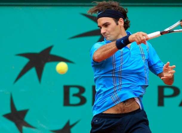Swiss player Roger Federer hits a foreha